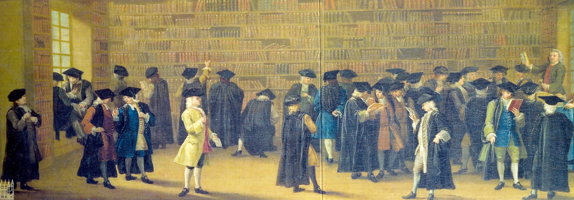Image of busy book auction, Oxford, 1747.