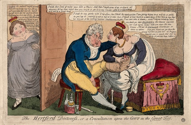 V0011000 A gouty man having his foot caressed by a voluptuous woman w Credit: Wellcome Library, London. Wellcome Images images@wellcome.ac.uk http://wellcomeimages.org A gouty man having his foot caressed by a voluptuous woman with a crown, another crowned woman listens in the doorway; representing King George IV with his mistress the Marchioness of Hertford and his wife Queen Caroline of Brunswick. Coloured etching, c. 1820. Published: - Copyrighted work available under Creative Commons Attribution only licence CC BY 4.0 http://creativecommons.org/licenses/by/4.0/